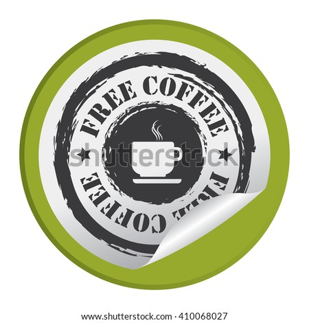 Green Circle Free Coffee - Product Label, Campaign Promotion Infographics Flat Icon, Peeling Sticker, Sign Isolated on White Background  - stock photo