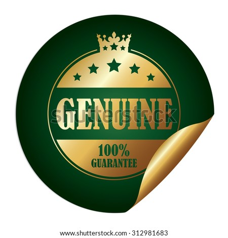 Green Circle Genuine 100% Guarantee Infographics Peeling Sticker, Label, Icon, Sign or Badge Isolated on White Background - stock photo