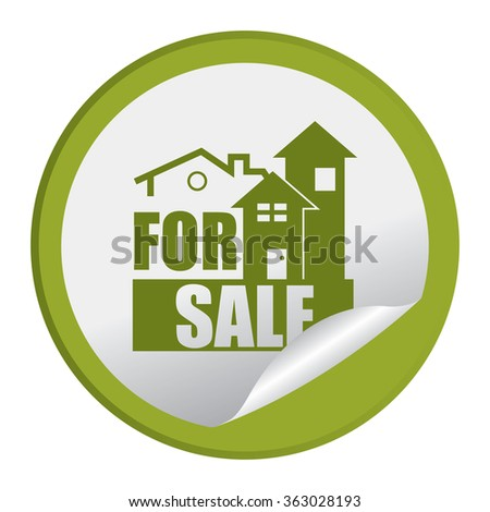Green Circle Home or Office For Sale Product Label, Infographics Flat Icon, Peeling Sticker, Sign Isolated on White Background  - stock photo