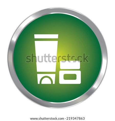 Green Circle Metallic Cosmetic Container Icon or Button Isolated on White Background  - stock photo