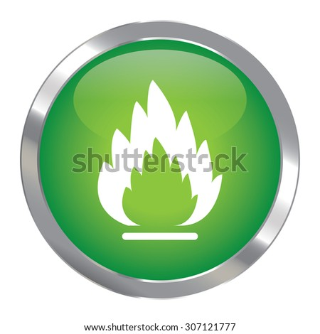 Green Circle Metallic Fire or Flammable Infographics Icon, Sign or Symbol Isolated on White Background  - stock photo