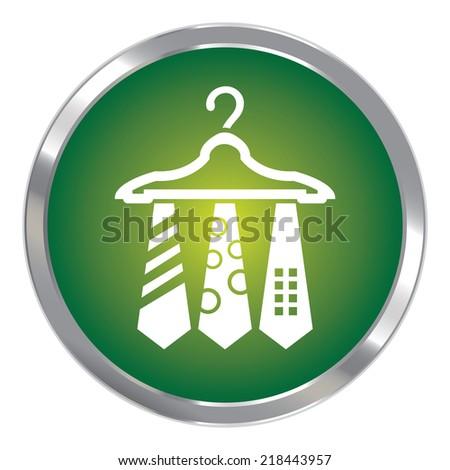 Green Circle Metallic Necktie Hanger Button Icon or Button Isolated on White Background - stock photo