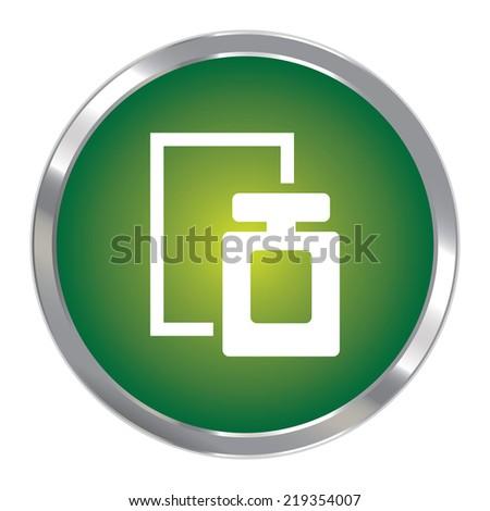 Green Circle Metallic Perfume Spray Icon or Button Isolated on White Background  - stock photo