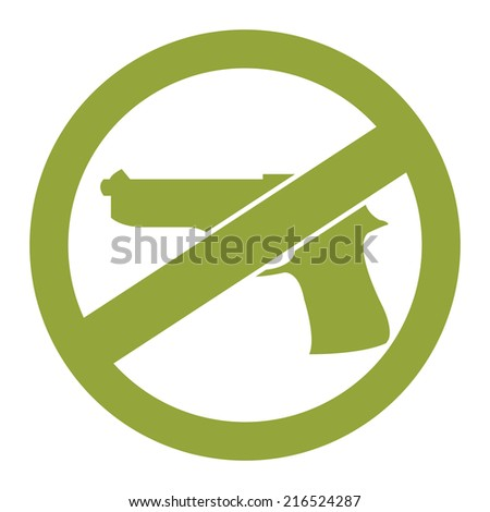 Green Circle No Gun Prohibited Sign, Icon or Label Isolate on White Background  - stock photo