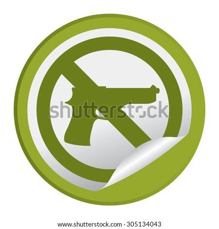 Green Circle No Gun Prohibited Sign Infographics , Sticker, Icon or Label Isolated on White Background  - stock photo