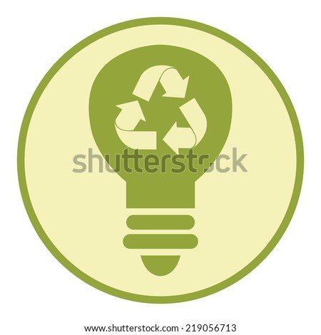 Green Circle Recycle Light Bulb Retro Icon, Button or Label Isolated on White Background - stock photo