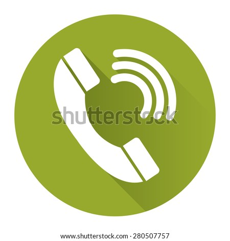 Green Circle Telephone, Customer Care or Call Center Service Long Shadow Style Icon, Label, Sticker, Sign or Banner Isolated on White Background - stock photo