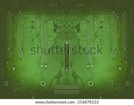 Green circuit board background of computer motherboard - stock photo