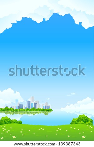 Green City Landscape with lake and flowers - stock photo