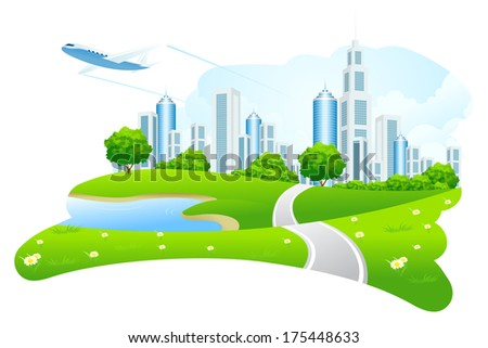 Green City Landscape with Road Lake and Airplane - stock photo