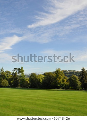 Green City Park and Blue Sky - stock photo