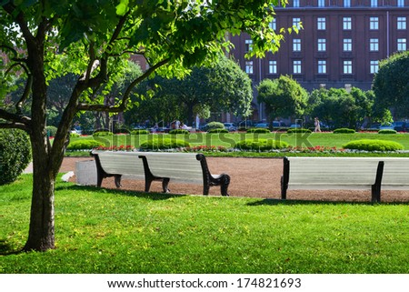 Green city park. Saint-Petersburg, Russia  - stock photo