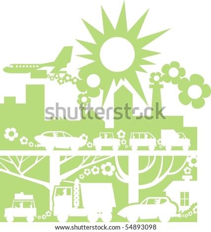 Green city silhouette color raster illustration - stock photo