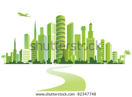 Green City. Urban background. Environment. - stock photo