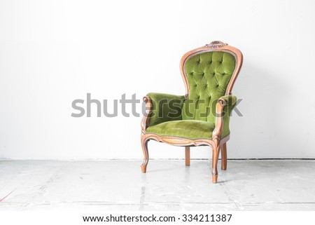 Green classical style Armchair sofa couch in vintage room  - stock photo