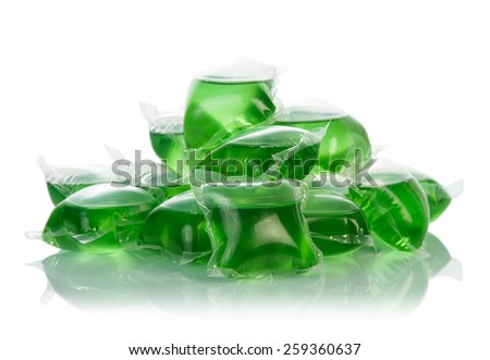 Green cleaner containers on white background - stock photo