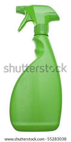 Green Cleaning Bottle for a Natural Environmentally Friendly Cleaning Concept.  Isolated on White with a Clipping Path. - stock photo