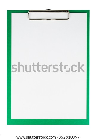 Green clipboard with a blank sheet of paper isolated on white background - stock photo