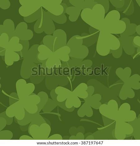 Green clover seamless pattern. 3D background for feast of St. Patrick. Texture plants trefoil - stock photo