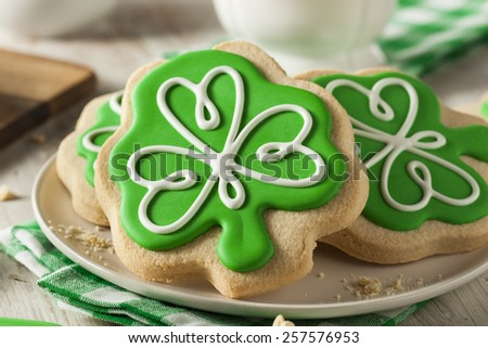 Green Clover St Patricks Day Cookies Ready to Eat - stock photo
