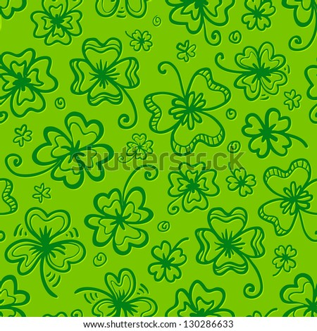 Green clovers seamless pattern for Saint Patrick's Day. Raster illustration. Vector version also exist. - stock photo