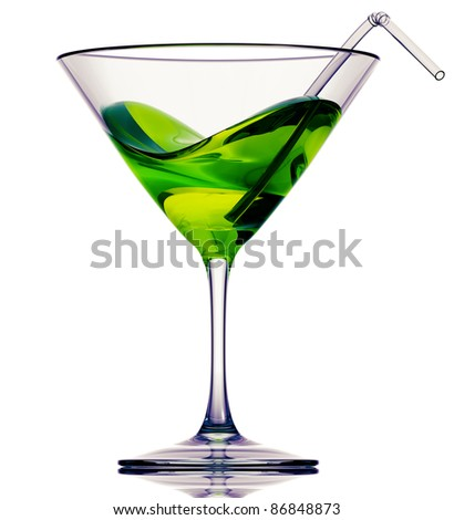 Green cocktail with tubule isolated on white, 3D. - stock photo