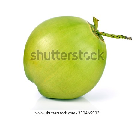 Green coconut Fruit isolated on white background - stock photo