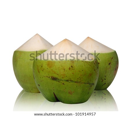 Green Coconut with reflect on white background, clipping path. - stock photo