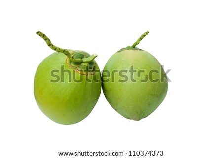 Green coconuts fruit isolated on white with clipping path - stock photo