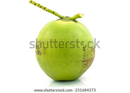 Green coconuts over white background  - stock photo