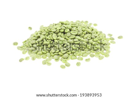 Green Coffee isolated on White Background. - stock photo