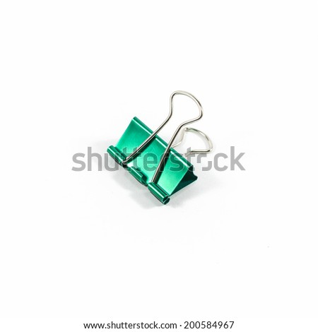 green color clips isolated on white background - stock photo