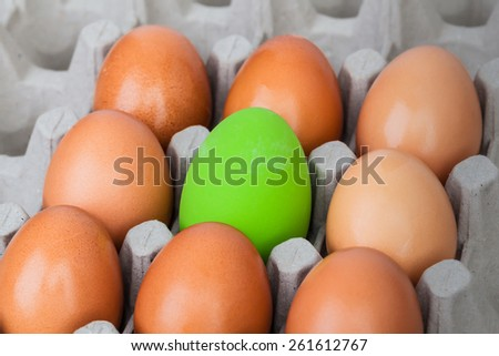 green color eggs on crate for holiday easter festival, can use as background - stock photo