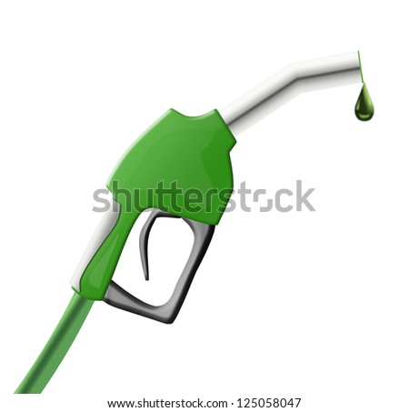 Green color gun from the fuel pump - stock photo