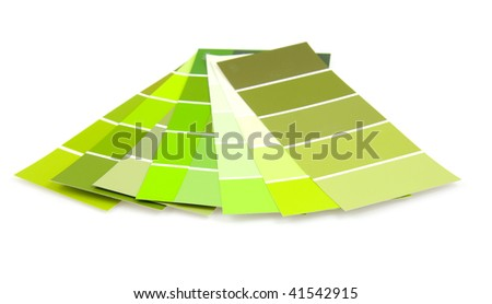 green colored samples for painting over white background - stock photo