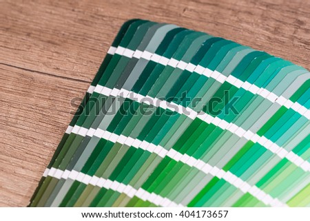 Green colour sample chart close up - stock photo