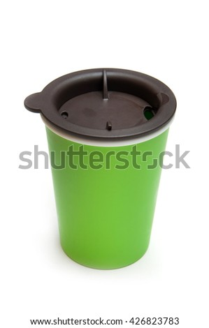 green colour take-out coffee mug. isolated on a white - stock photo