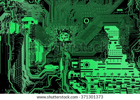 Green Computer motherboard  for background or texture - stock photo