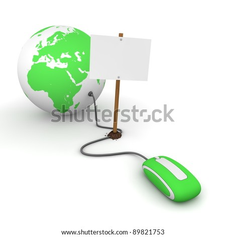 green computer mouse is connected to a green globe - surfing and browsing is blocked by a white rectangular sign that cuts the cable - empty template - stock photo