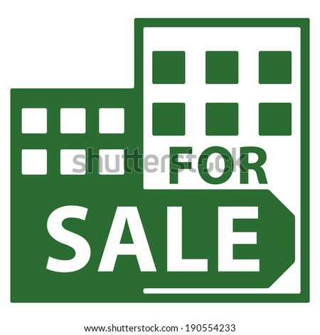 Green Condominium, Apartment, Building or Office For Sale Isolated on White Background  - stock photo