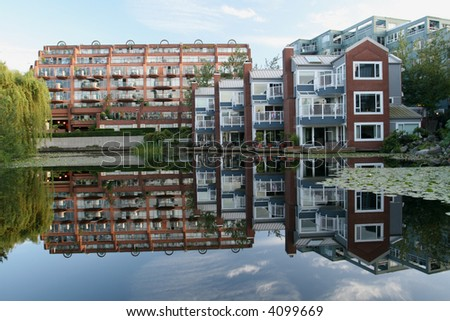 Green Condominium Complex - stock photo