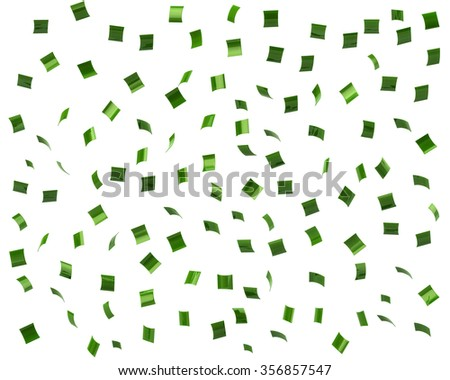 Green confetti on white background - stock photo