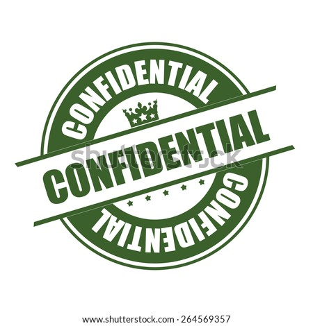 Green Confidential Stamp, Badge, Banner, Sign, Tag, Label, Sticker or Icon Isolated on White Background - stock photo