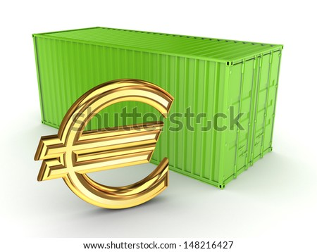 Green container and sign of euro.Isolated on white.3d rendered. - stock photo