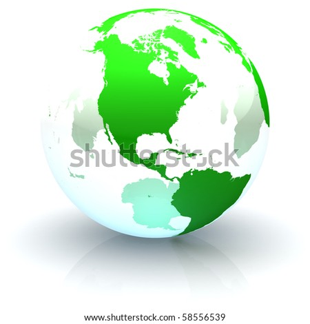 Green continents-only transparent globe illustration with highly detailed continents facing North America - stock photo