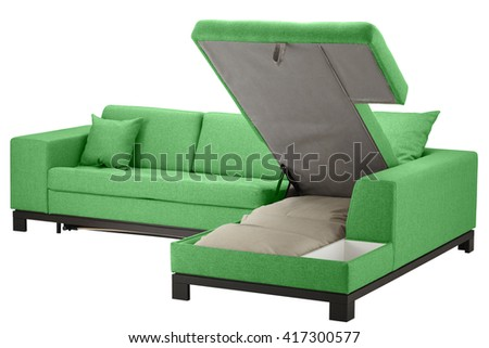 Green corner couch bed with storage isolated on white include clipping path - stock photo