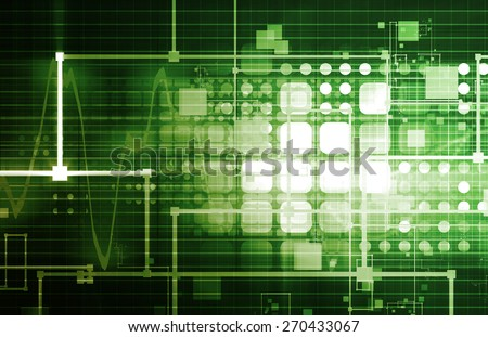 Green Corporate Technology Industry and Startup as Art - stock photo