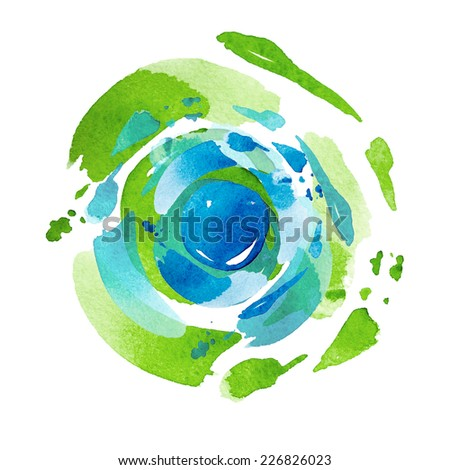 green cosmic watercolor background  - stock photo
