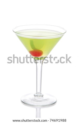 Green Cosmopolitan martini cocktail with vodka, rum,  liqueur, lemon juice, pineapple, maraschino cherry in small martinis cocktails glass isolated on a white background - stock photo