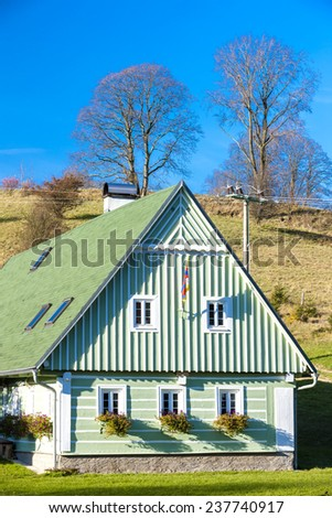 green cottage, Czech Republic - stock photo